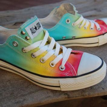 DCCKHD9 Rainbow Studded Converse Allstars - Hard to Find Rare Chucks - Lo Tops