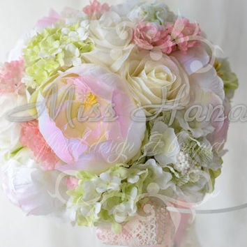 Roses, hydrangea and Peony Silk Bride Bouquet pink white flowers Wrapped In Satin Ribbon Silk Arrangement Rustic Chic Romantic Elegant