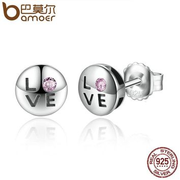 BAMOER Romantic Gift 100% 925 Sterling Silver Pink Crystals LOVE Small Stud Earrings for Women Fashion Jewelry SCE024-1L