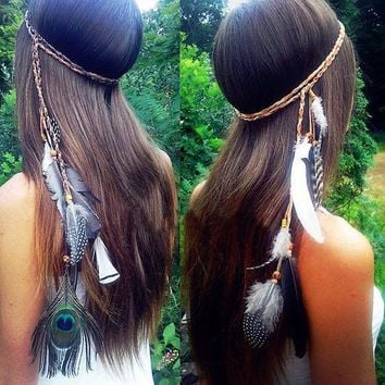 ESBON Peacock Feather Beaded Tassel Hair Accessories Hair Rope