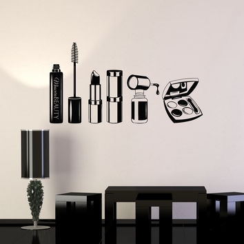 Vinyl Wall Decal Beauty Salon Mascara Stylist Woman Girl Room Stickers Mural Unique Gift (ig5042)