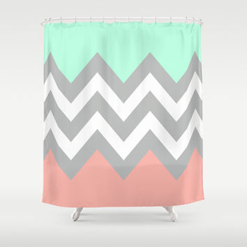 Turquoise And Coral Shower Curtain. DOUBLE COLORBLOCK CHEVRON  MINT CORAL GRAY Shower Curtain by n a t l i e Shop Gray Chevron on Wanelo