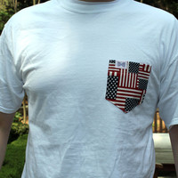 The Washington Unisex Tee Shirt in White with American Flag Pocket by the Frat Collection