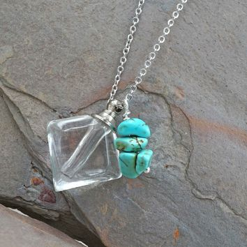 Diamond Vial Essential Oil Diffuser Necklace Aromatherapy