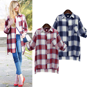 Fall Winter Fashion 2016 Plus Size Long Sleeve Checkered Shirt [9068273988]