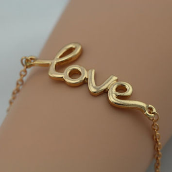 Gold LOVE Bracelet / Gold Chain / Bridesmaids Jewelry, Friendship Graduation Gift / Summer Trending Accessories