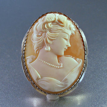 Cameo Brooch Pendant, 800 Silver, Carved Shell, Detailed High Relief, 1.75""