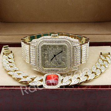Hip Hop 14K Gold Simulated Diamond Watch Ruby Iced Out Cuban Bracelet Set F46
