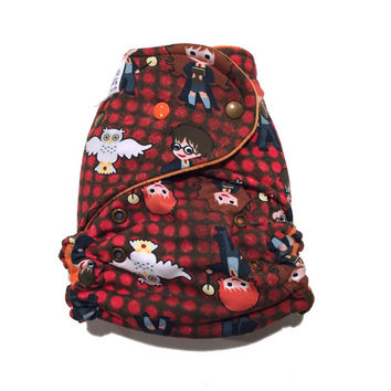 OS Hybrid Fitted Cloth Diaper - Marroon Harry Potter - Little Wizards