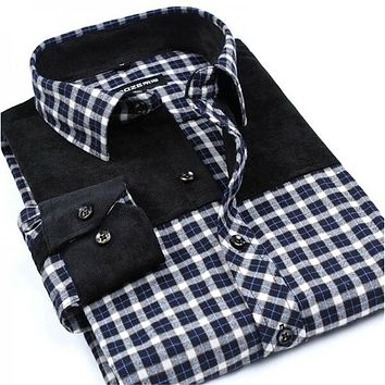 Patchwork Men Shirts Social Long Sleeve Plaid Fashion Brushed Flannel Slim Fit Shirt Formal Dress Shirts