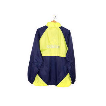 90s ADIDAS neon jacket - vintage 1990s - big embroidered 3 stripes logo - yellow & navy blue - mens M - L
