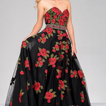 Black Multi Sweetheart Neck Floral Jovani Dress 45741