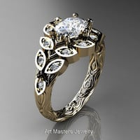 Art Masters Nature Inspired 14K Yellow Gold 1.0 Ct Oval White Sapphire Diamond Leaf and Vine Solitaire Ring R267-14KYGDWS
