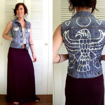Bleached Eagle & Sun Denim Cut Off Vest Black Magic Jean Jacket