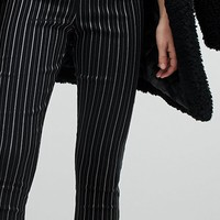 New Look Metallic Pinstripe Slim Pants at asos.com