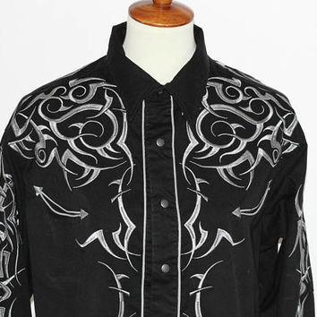Men's Fancy Western Shirt Black and Silver | Cowboy Shirt Embroidered Yoke and Sleeves Pearl Snap Buttons Long Sleeve Roper XL Square Dance