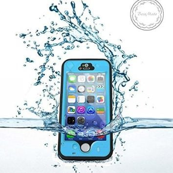 iPhone 5S Waterproof Case, Bessmate IP 68 Waterproof, Dustproof, Snowproof, Shockproof Protrctive Carrying Cover Cases with Fingerprint Recognition Touch ID for iPhone 5S (Blue)