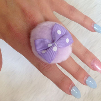 3 COLORS - Pastel Powderpuff Rings