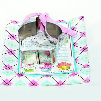 DII Kitchen Towel & Cupcake Cookie Cutter w/ Recipe Card Gift Set