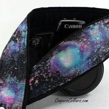 331 Galaxy Camera Strap, OOAK Hand painted, One of a Kind, dSLR or SLR, Cosmos, Nebula, OOAK