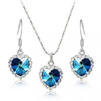 KATGI Fashion Heart of the Ocean Austrian Crystal Necklace and Earrings (Set)