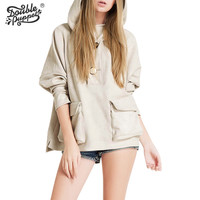 New autumn Korean version loose casual solid hooded coat high quality full bat sleeve tops women