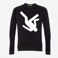 Silhouette Person Falling - Copy fleece crewneck sweatshirt