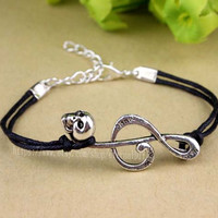 14 color choose special music symbol bracelet, skull bracelet, notes like music friends must buy bracelets
