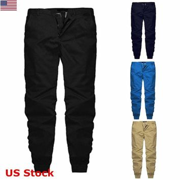 US Men Long Casual Sports Pants Slim Fit Trousers Running Jogger Gym Sweatpants