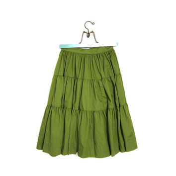 Cotton Tiered Skirt. Ruffed Country Western Vintage OLIVE green High Waist 80s 70s Preppy Cowgirl prairie Boho Hippie Fall Skirt Womens XS