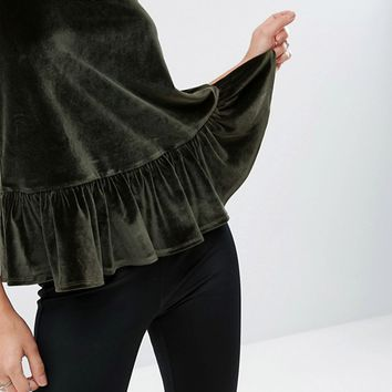 ASOS Cami with Frill Hem in Velvet at asos.com