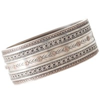 Victorian Sterling Silver and Rose Gold Wide Bangle