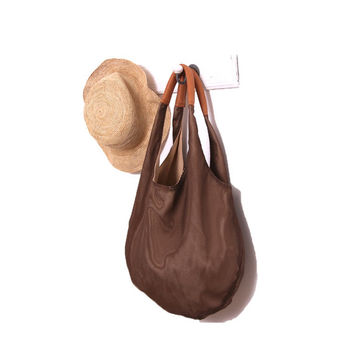 Brown hobo bag by Leah Lerner