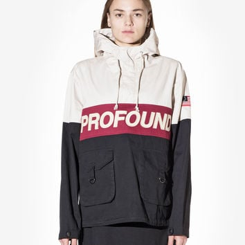 3-Tone Pullover Parka Jacket in Cream/Black/Red: WMNS
