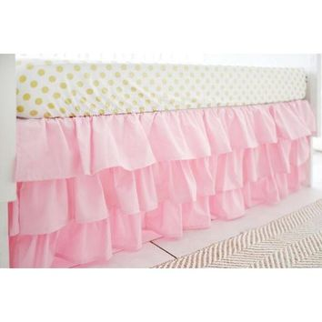 Crib Skirt | Pink Ruffled