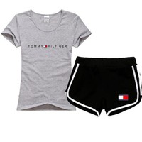 Tommy Hilfiger Women Men Fashion Cotton Sport Shirt Shorts Set Two-Piece Sportswear