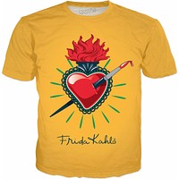 Frida Kahlo Pierced Heart Yellow T-Shirt