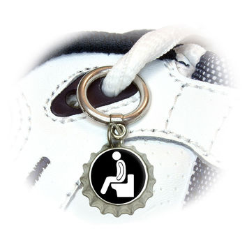 Poop - Pooping Toilet Shoe Bottlecap Charm