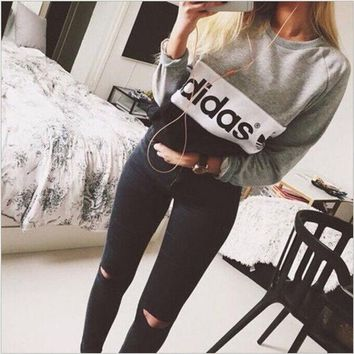 multi color adidas letter and logo print long sleeve sweater i
