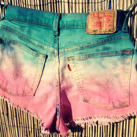 Vintage Levi's Denim High Waisted Shorts / Tie Dye Ombre / Studded