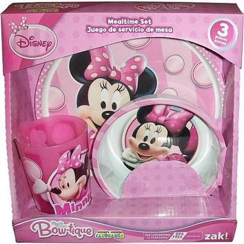 Zak! Designs Dinnerware Set with Plate, Bowl and Cup and Disney's Minnie Mouse, Break-resistant and BPA-free Plastic, 3 Piece Set