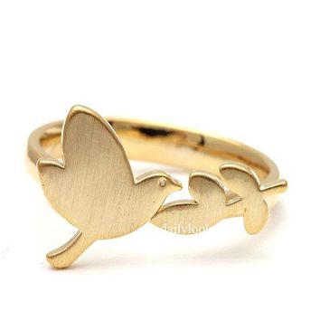 Kinitial 1PCS  Fashion Jewelry Championship Adjustable Ring Gold Planted Bird Leaves Ring Vintage Animal Rings For Women And Men