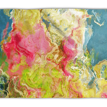 Abstract Art plush fleece throw, 50x60 and 60x80, coral fleece blanket in hot pink, blue and green, Aria