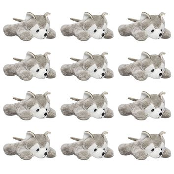 "12 Pack Wolf Husky Mini 4"" Small Stuffed Animals, Bulk Bundle Zoo Animal Toys, Forest Party Favors for Kids"