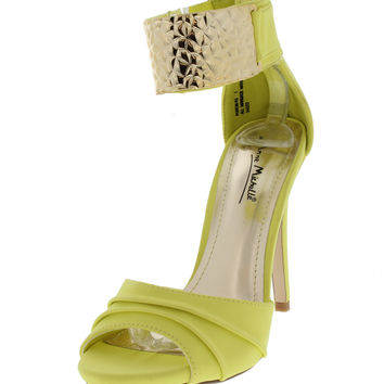 Lemon Colored Ankle Strap High Heeled Sandals
