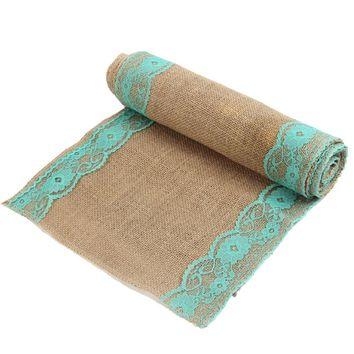 """12x108""""  Rustic Burlap Turquoise Lace  Table Runner For Wedding"""