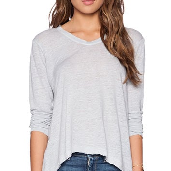 Wilt Lux Slub Long Sleeve Raw Easy Tee in Blue