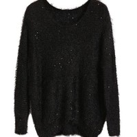 Black Mohair Sweater With Sequin Detail