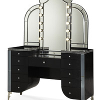 Hollywood Swank Upholstered Vanity & Mirror - Black Iguana by Aico