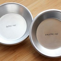 Cutie Pie & Sweetie Pie Stamped Mini Metal Pie Pan Set